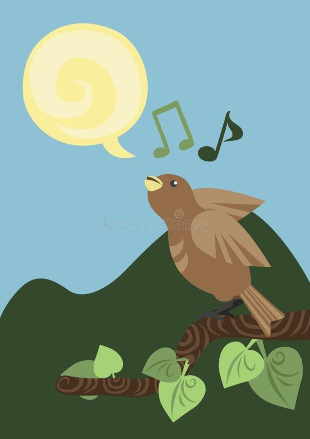One Singing Little Bird vector illustration