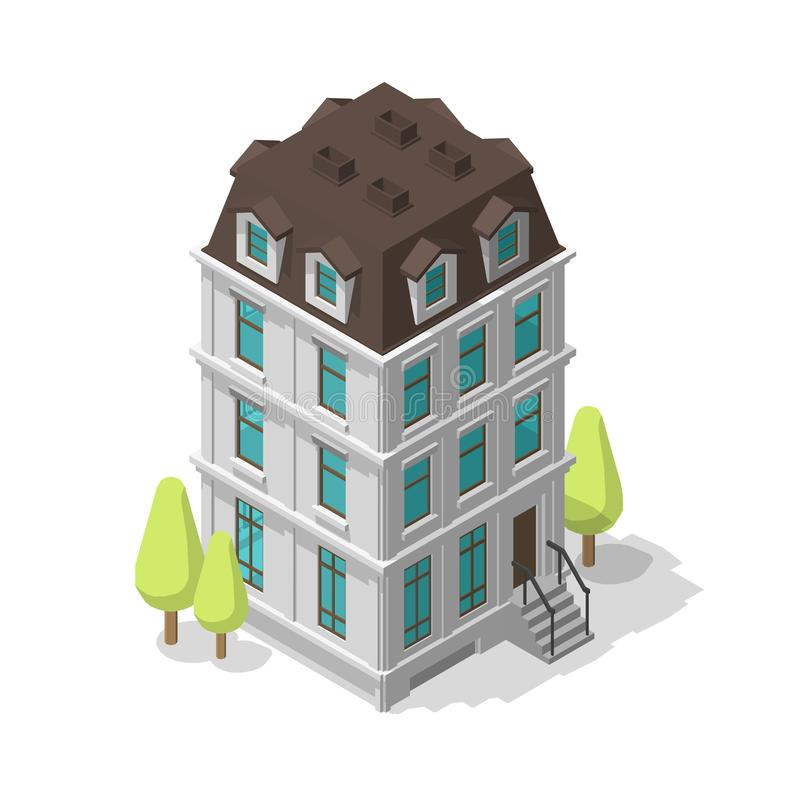 One single common building. Residential dwelling-house. Two-storey mansion. Classic style architecture. Vector Isometric. Stock clipart stock illustration