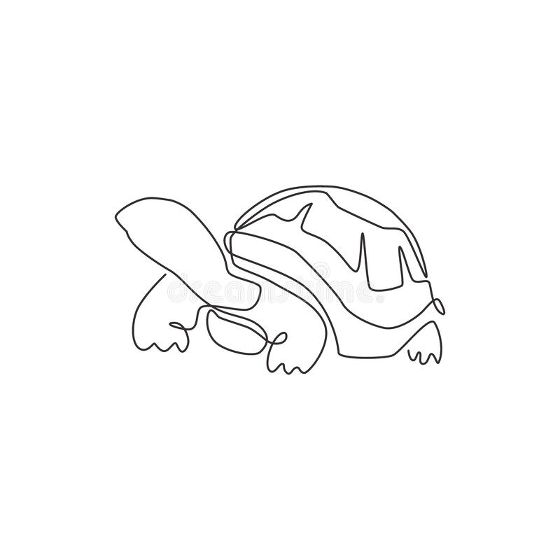 Free One Single Line Drawing Of Big Land Tortoise For Social Company Logo Identity. Adorable Creature Reptile Animal Mascot Concept For Stock Photo - 190667890