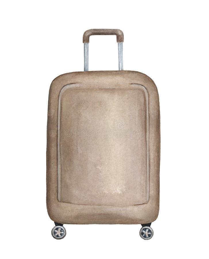 Big vertical suitcase handmade illustration. stock illustration