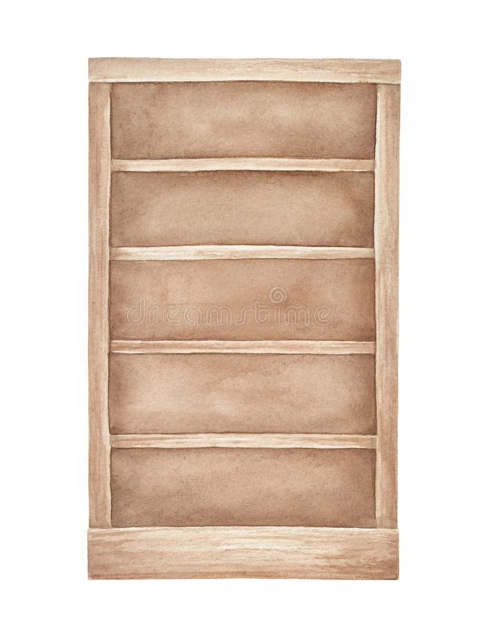 Watercolour illustration of traditional empty wooden bookcase. royalty free illustration