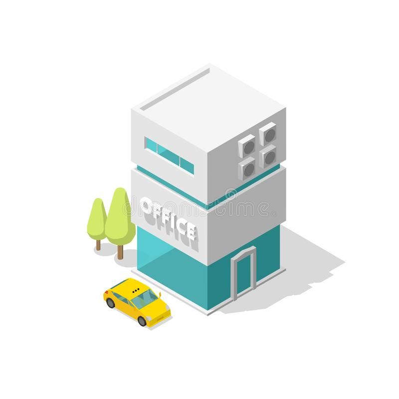 One single office building and taxi car. Two-storey suite apartments. Modern style architecture. Vector Isometric illustration. One single office building and stock illustration
