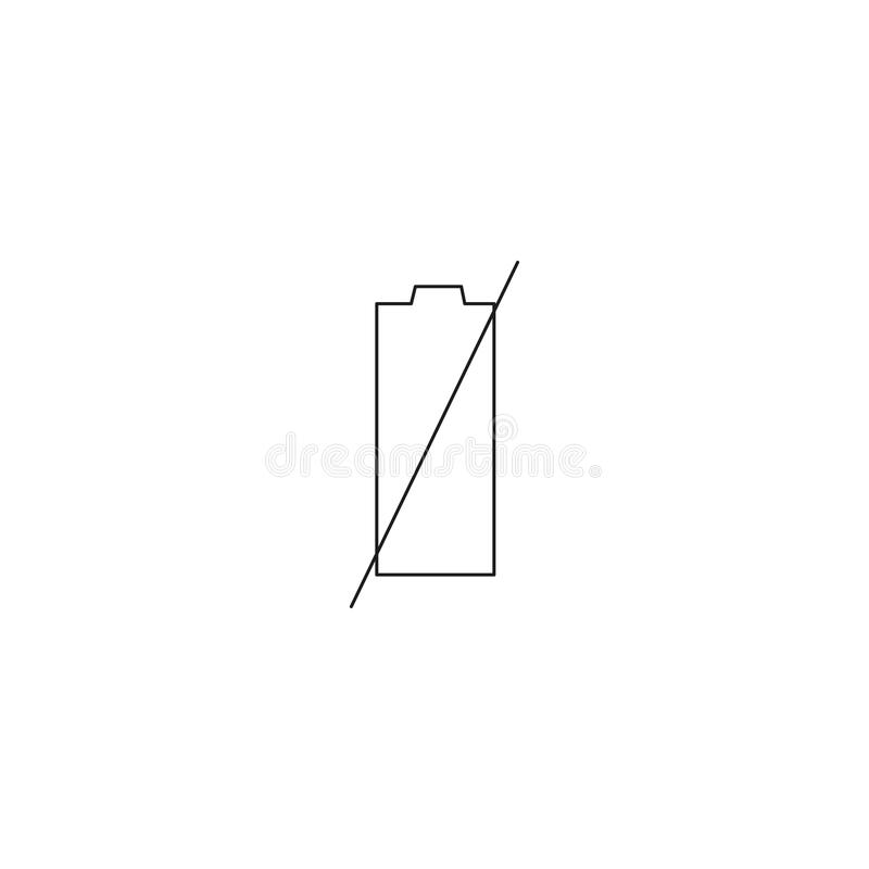 One single vector mobile with energy & one red level. one simple clean modern flat design style smart phone or cell phone With emp. Ty, low & charging Battery stock illustration