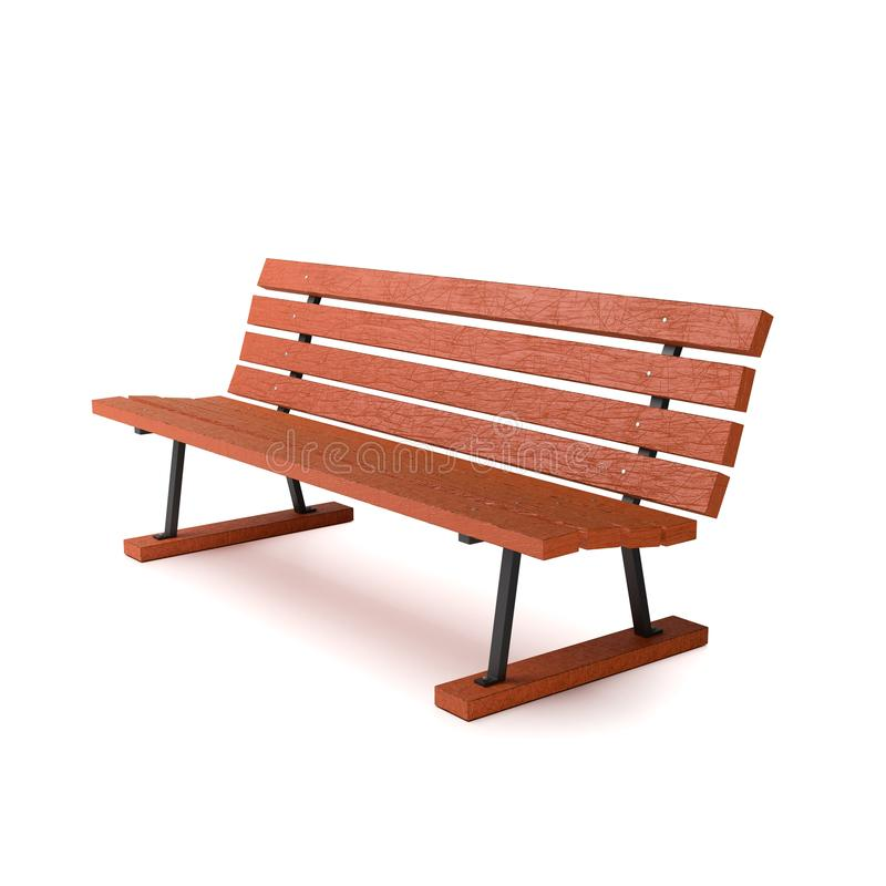 Wooden Bench on White Background royalty free illustration