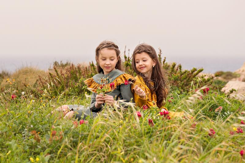 One sister gives another red flower sitting near the bushes on the grass and dressed in vintage clothes dress royalty free stock images