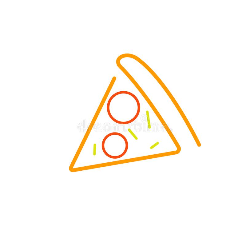 One slice pizza outline icon royalty free illustration