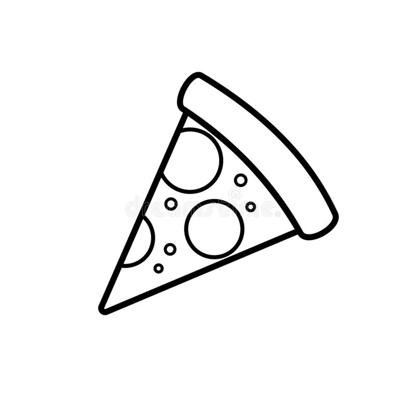 One slice pizza outline icon. Clipart image isolated on white background royalty free illustration