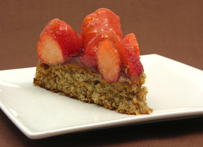 One slice of strawberry cake royalty free stock image