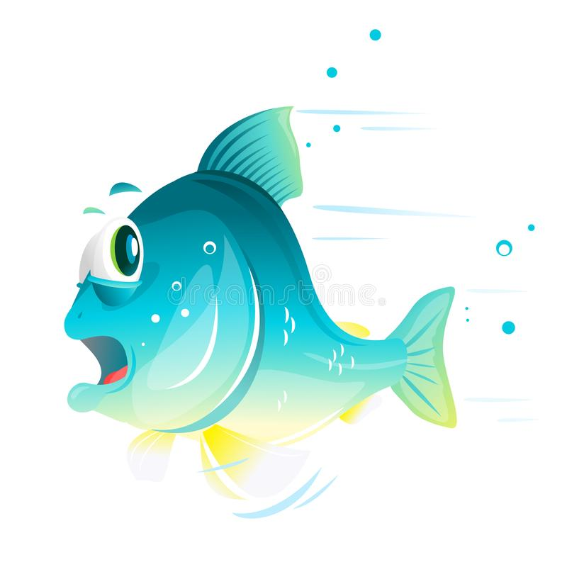 Fish Cartoon Escapes From Danger vector illustration