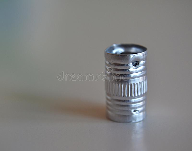 Small metal tube stock photo