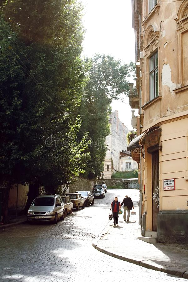 One of the small old streets of Lviv. Svobody Ave is the central street of Lviv royalty free stock photos