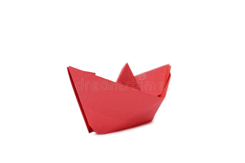 One small paper ship. On white background stock image