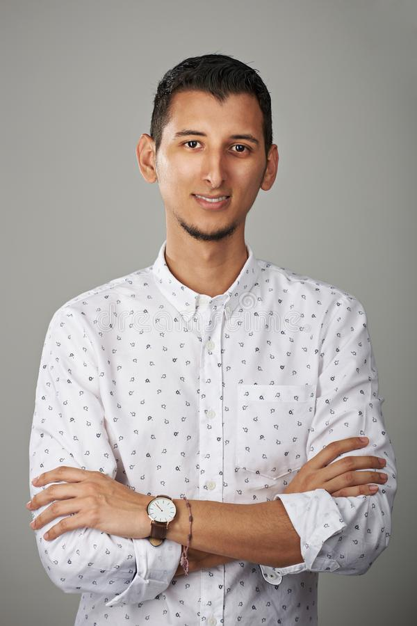 One smiling hispanic man stock photography