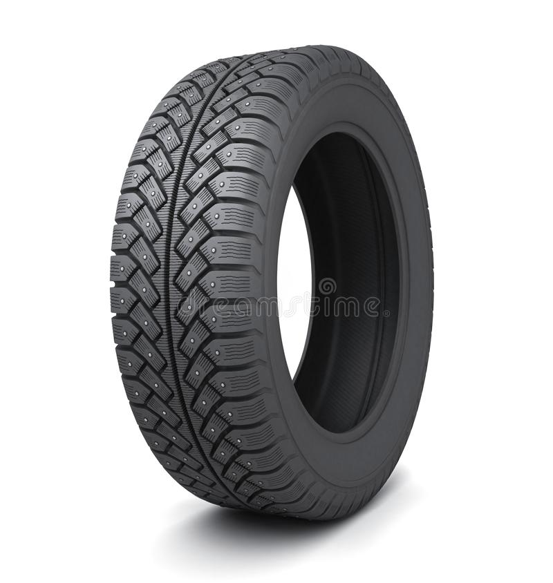 One winter tire car on white background stock image