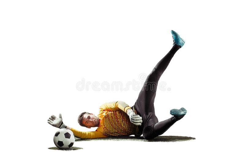 One soccer player goalkeeper man catching ball in silhouette isolated white background stock photos