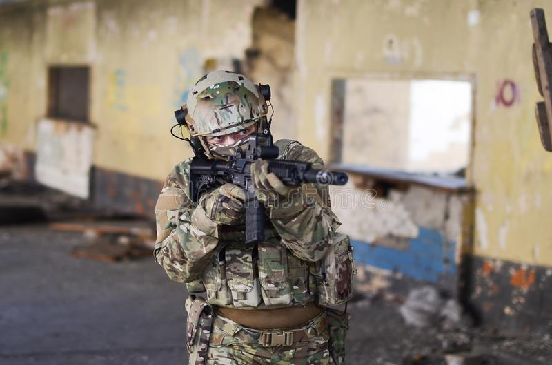 One soldier in combat gear royalty free stock photo