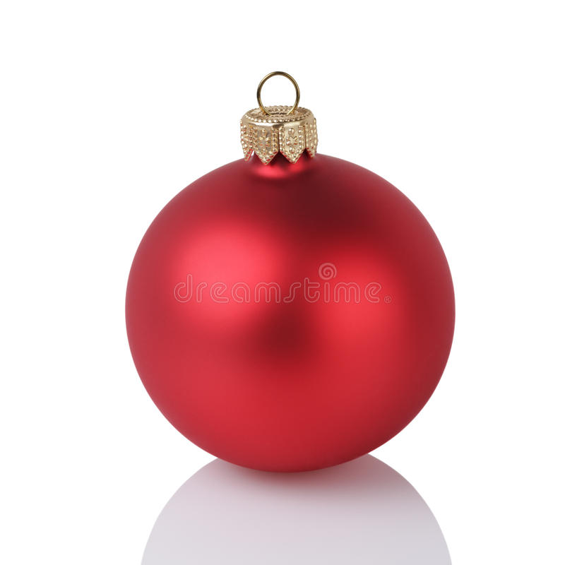 Download One Solid Red Color Christmas Ball Stock Image
