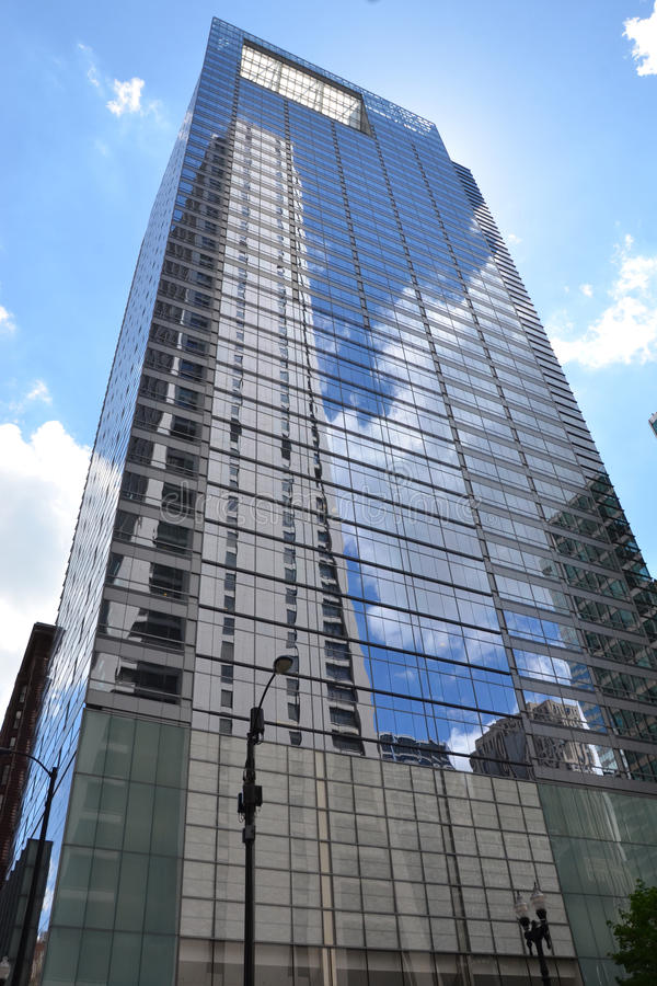 One South Dearborn in Chicago. CHICAGO - MAY 29: One South Dearborn building in Chicago is shown here on May 29, 2016. This 40-story skyscraper is LEED Silver royalty free stock photo