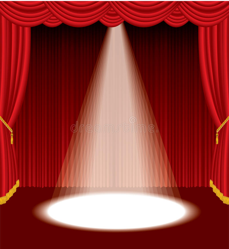 One spot on stage. One spot on red stage stock illustration