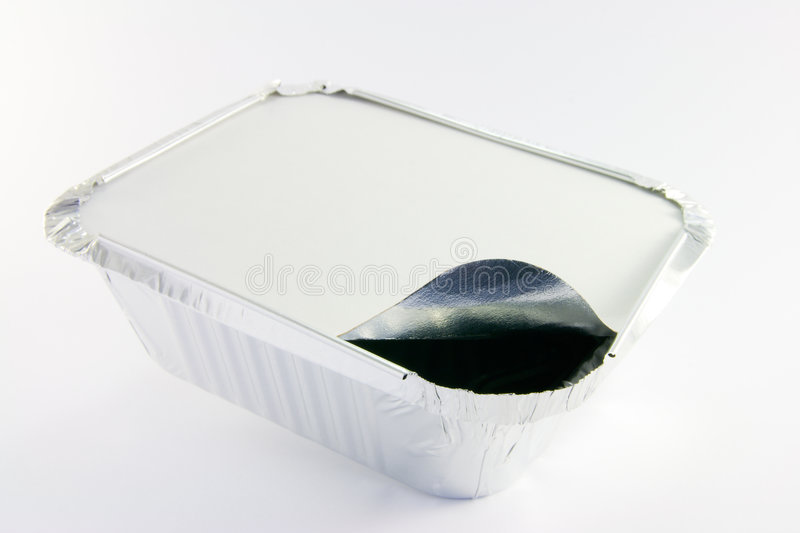 One square foil partly opened catering tray