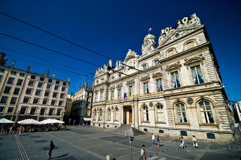 Lyon old town. One of the squares of Lyon, France. The area has UNESCO heritage status royalty free stock photo