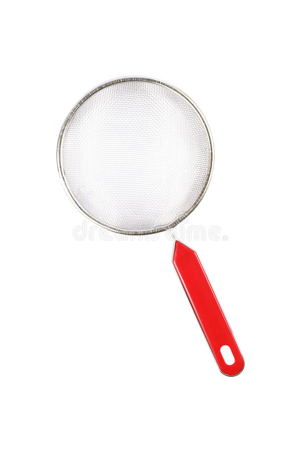 one stainless steel strainer isolated on white royalty free stock images