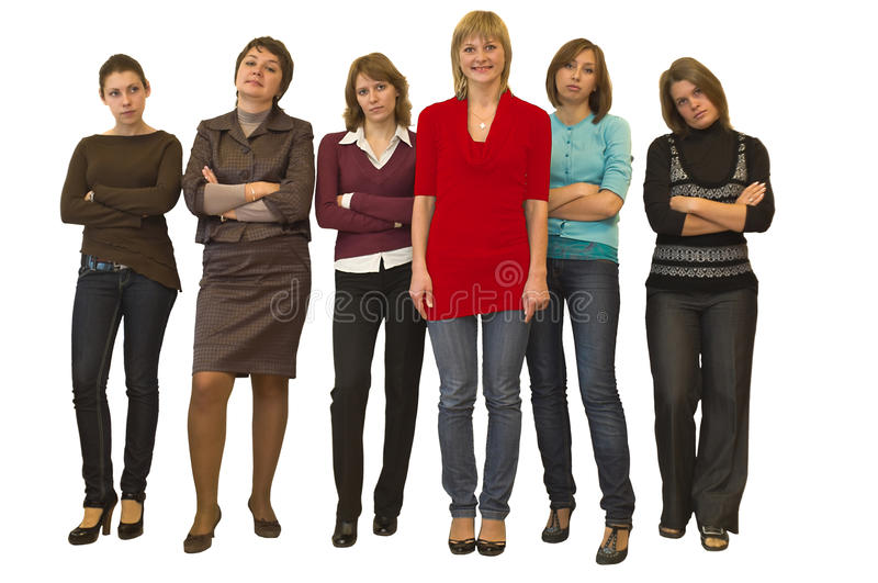 One stand out against six women stock photography
