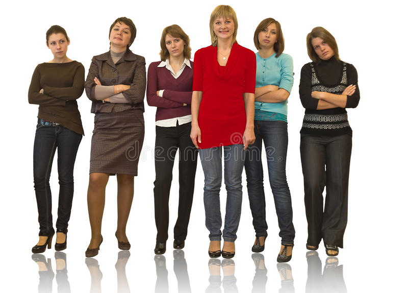 One stand out against six women stock photos
