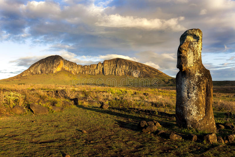 One standing moai in evening sunlight stock photo