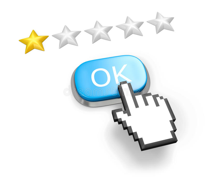 One Stars Rating. Button OK And Hand Cursor. Royalty Free Stock Images