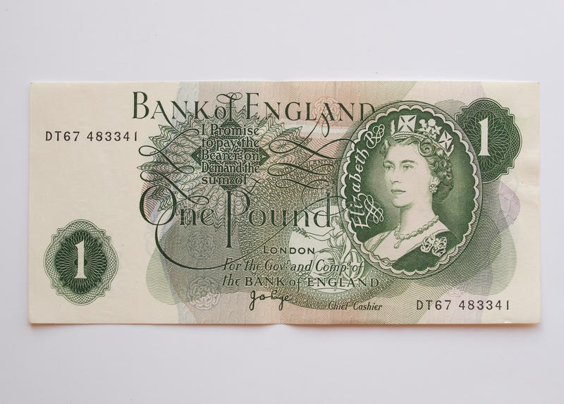 One Sterling Pound note, circa 1970 stock images