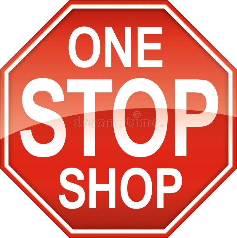One Stop Shop Sign Symbol stock illustration