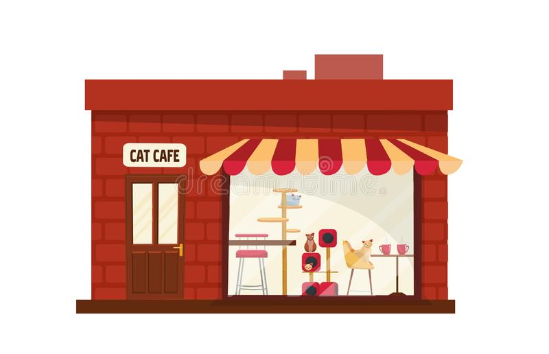 One-story Building cat cafe outside. House with large storefront with striped awning. Cats with accessories behind the glass. royalty free illustration