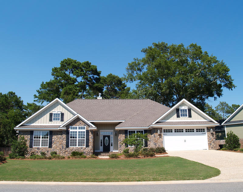 Download One Story Stone Residential Home Stock Image - Image: 10566837