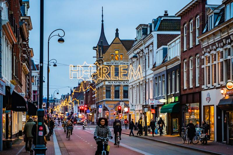 One of the street in Haarlem in Netherlands evening. royalty free stock photography
