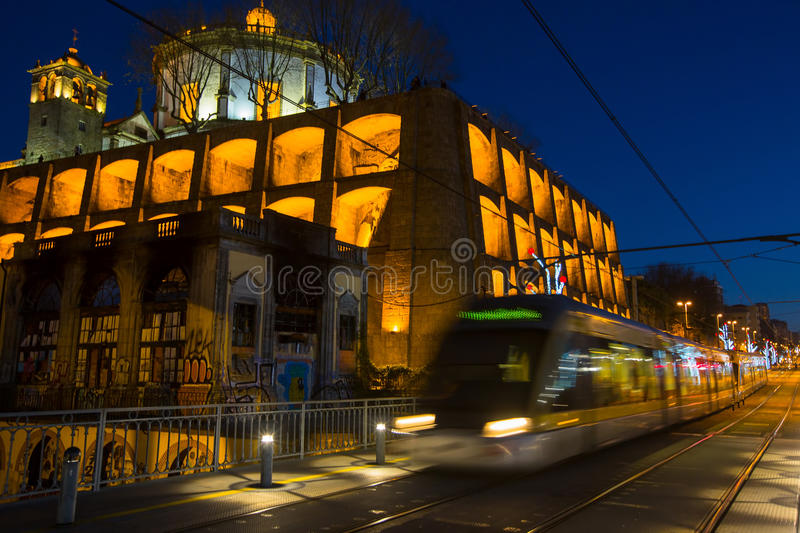 Download One Of The Streets Of Porto Old Town At Night Stock Photo - Image: 83715864