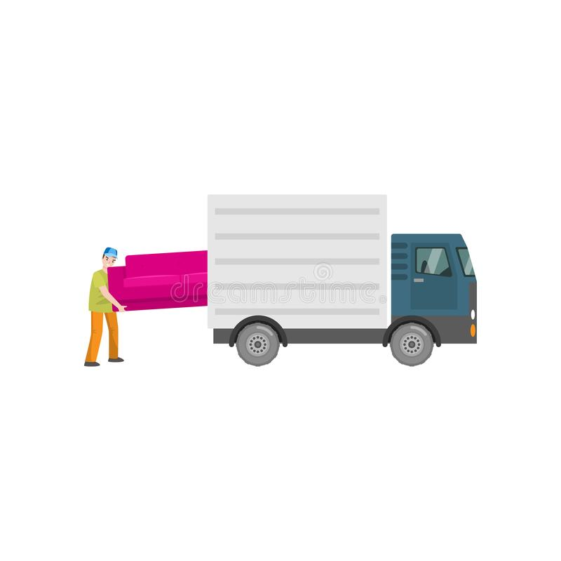 Man loads a big pink sofa in the trunk of a truck, isolated on a white. One strong man loads a big pink sofa in the opened trunk of a truck. Instruction for royalty free illustration