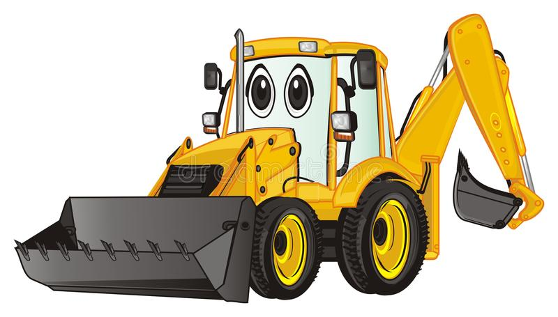 One surprise excavator. Yellow surprise excavator stand and watch stock illustration