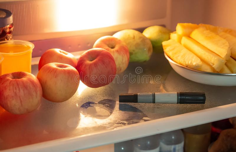 Marker pen in the refrigerator. stock photo