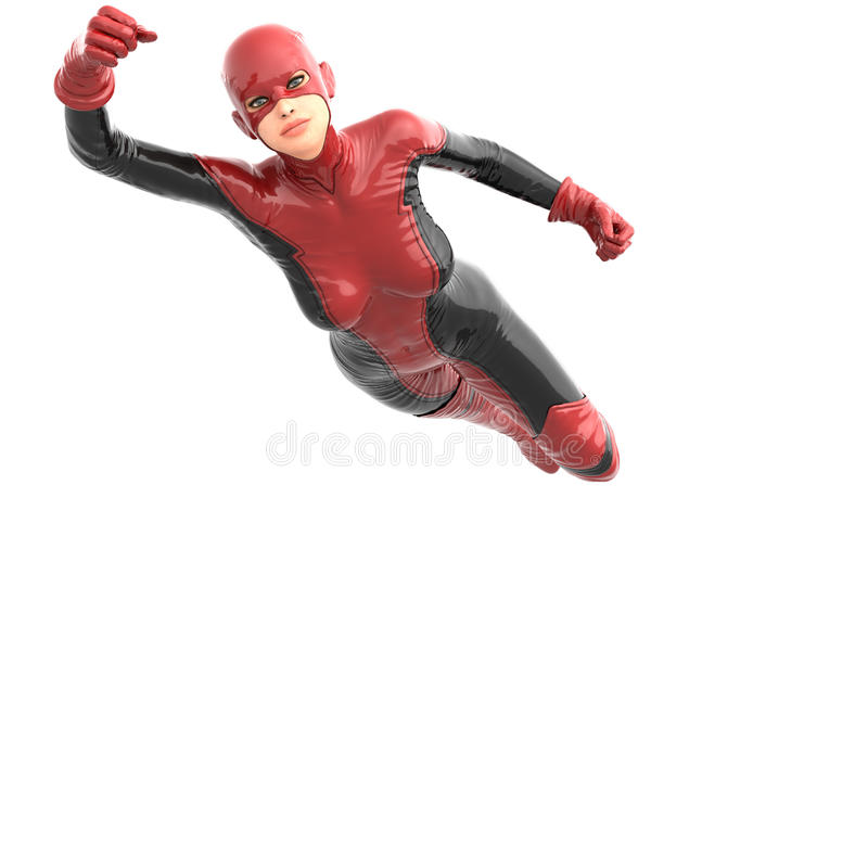 One tall woman in red black super suit. Female flies at camera. Right hand pointing up royalty free illustration