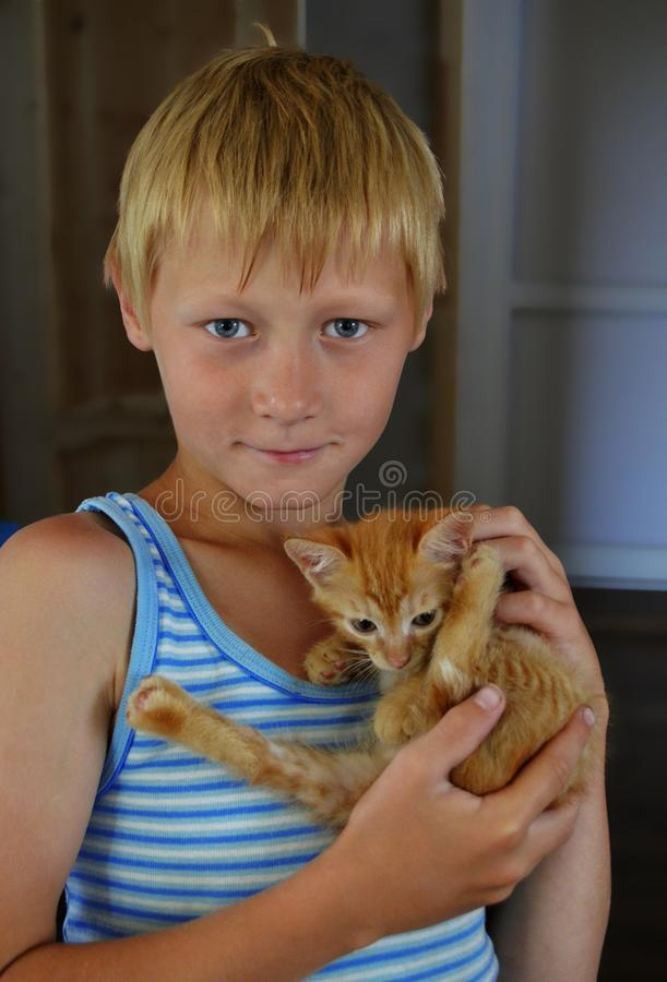 One teenager boy in a blue striped t-shirt with white short hair. And blue eyes holds a orange fluffy kitten in his hands and carefully looks right on a dark stock images
