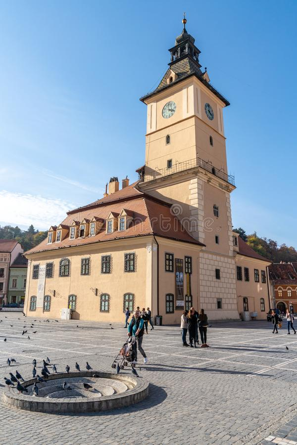 On the main square of old Brasov in Romania. One of the ten largest cities in Romania. Located in the heart of Romania, the city of Brasov is sometimes called royalty free stock photography