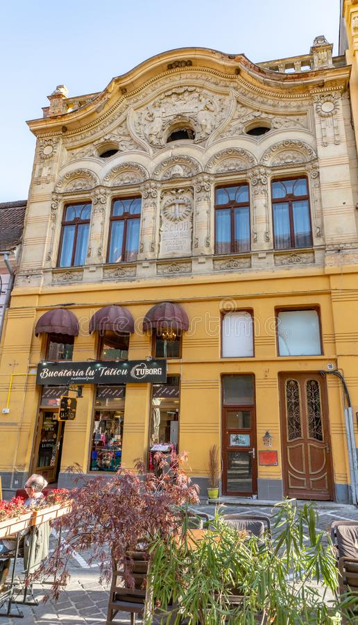 Hotel in the center of old Brasov, Romania. One of the ten largest cities in Romania. Located in the heart of Romania, the city of Brasov is sometimes called the royalty free stock photos