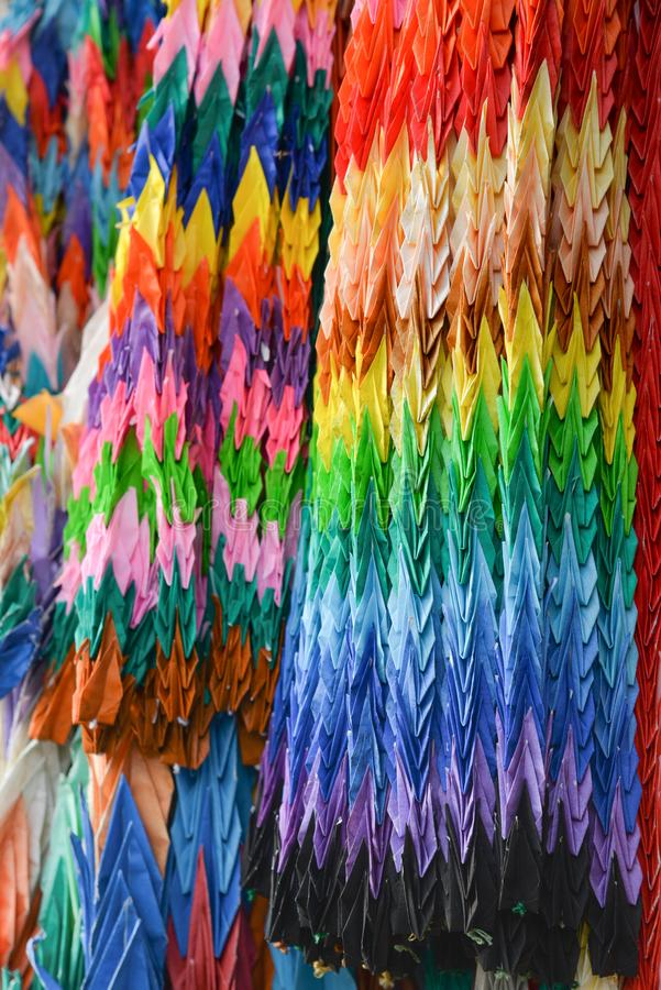 One thousand origami cranes, Japan stock photography