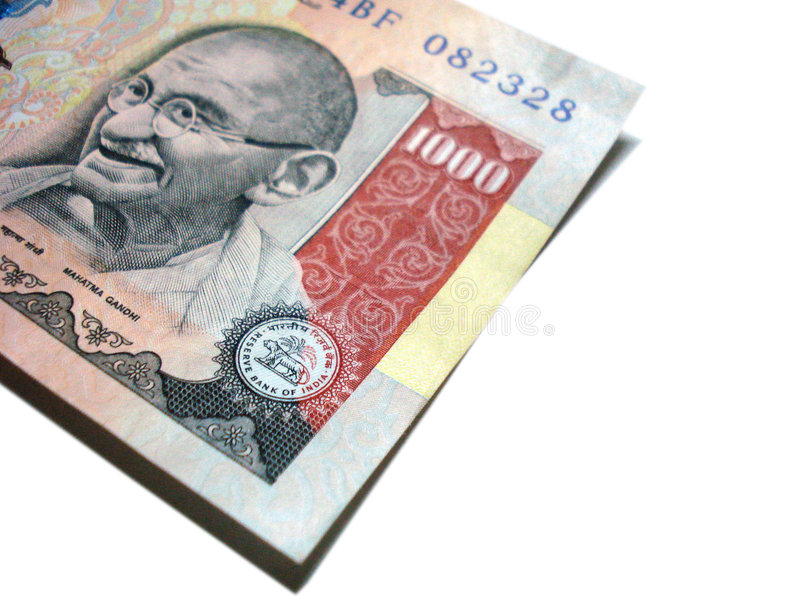 One thousand rupee indian note stock photography