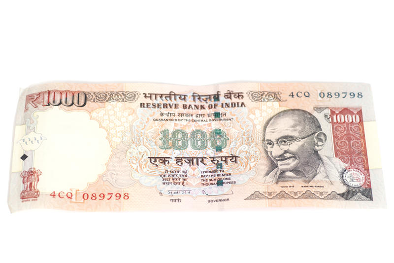 One thousand rupee note (Indian Currency) isolated on a white ba royalty free stock photo