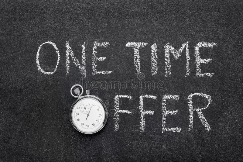 One time offer watch. One time offer phrase handwritten on chalkboard with vintage precise stopwatch used instead of O royalty free stock photo