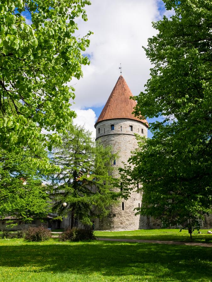 One tower in Old town of Tallinn. Tallinn, Estonia, Europe.  royalty free stock images