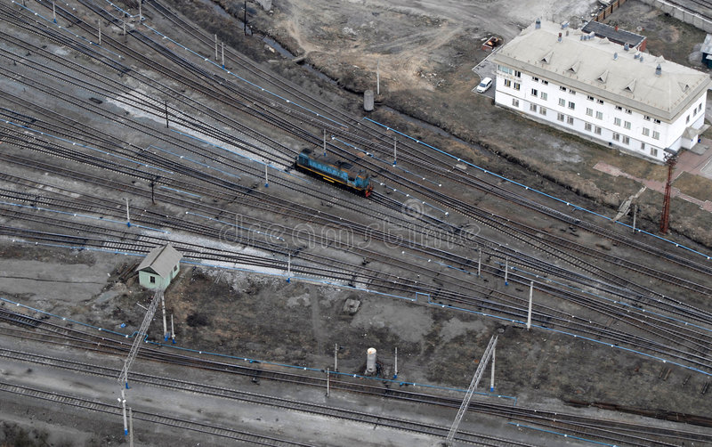 One train and many railings. Aerial view. royalty free stock photography