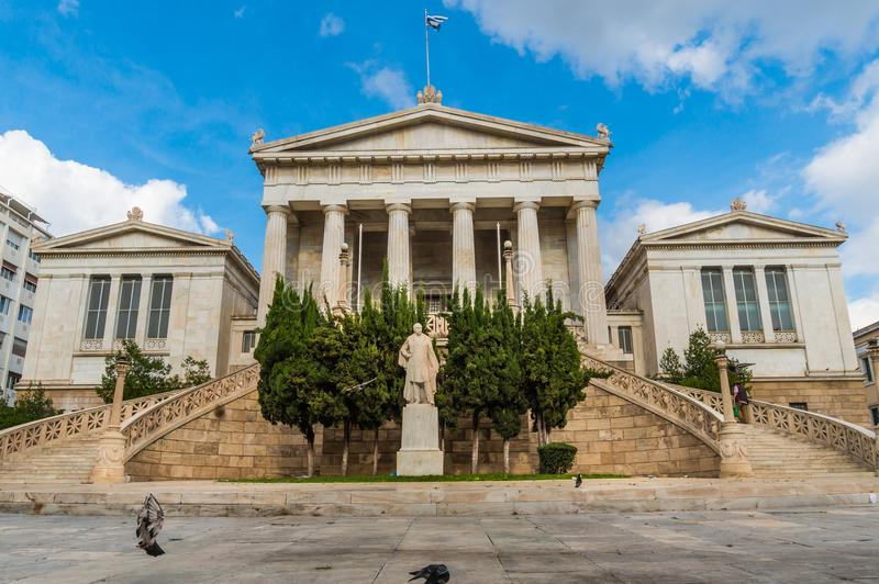 National library in the center of Athens Greece. One of the Trilogy of neoclassical buildings including the Academy of Athens and the original building of the royalty free stock image